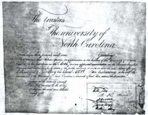 UNC's first diploma